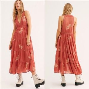 Free People Runaway With Me Embroidered Midi Dress